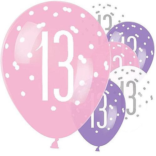 Latex-Ballons zum 13. Geburtstag, Mädchen