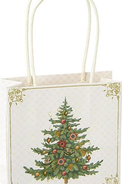 Geschenketasche Christbaum, creme-weiß