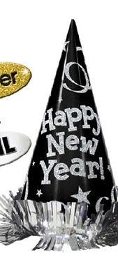 """Partyhut """"Happy New Year"""", einzeln, schwarz"""