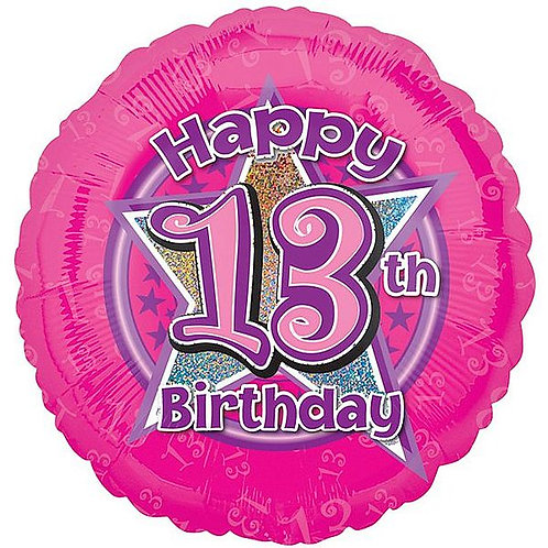 Folienballon Happy Birthday 13, pink