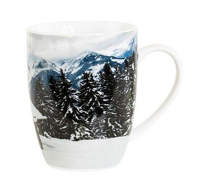 """Porzellanbecher """"Berghütte im Winter"""""""