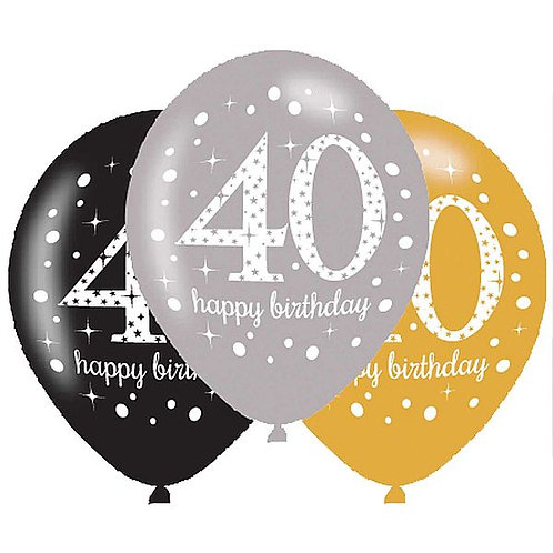 "Latexballons ""Happy Birthday 40"" in gold/silber/schwarz"