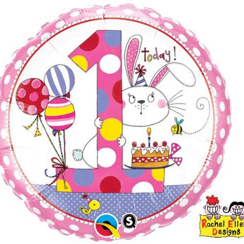 Folienballon von Rachel Ellen Designs, 1. Geburtstag Mädchen