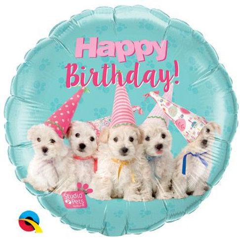 "Folienballon Happy Birthday ""Niedliche Hunde"""