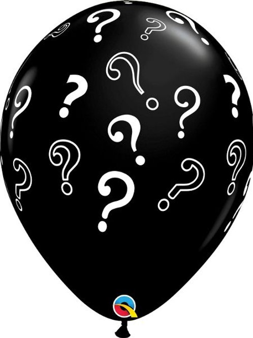"""Latex-Ballon """"Fragezeichen"""", Ø 40 cm, gefüllt mit hellblauem Konfetti"""