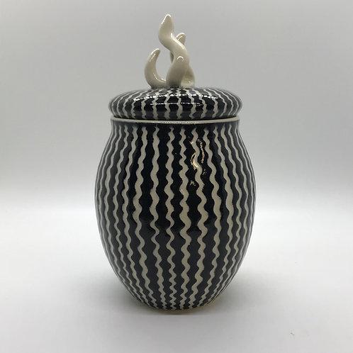 Large Porcelain Lidded Vessel