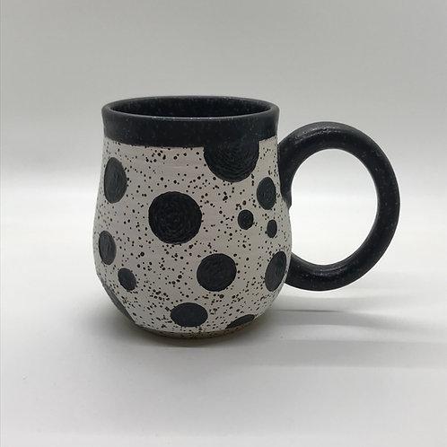 Matte Black Polka Dot Mug