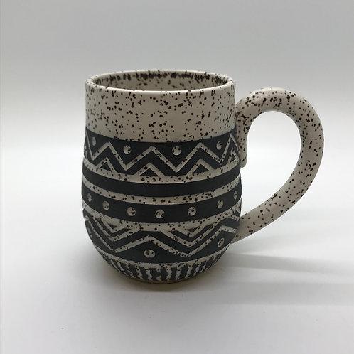 Matte White Tribal Mug-10oz