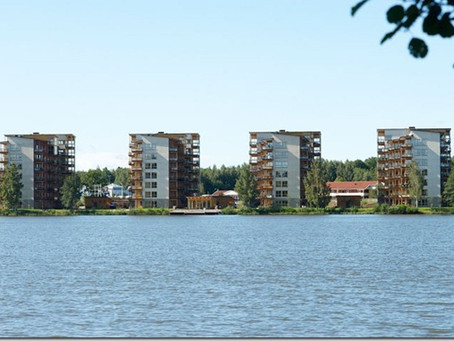 İsveç'te ahşap apartmanlar.
