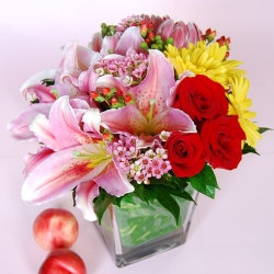 Prosperity Glass Potted Bouquet