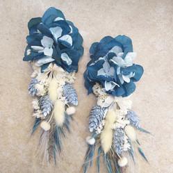 Çiçek küpe karışık mavi