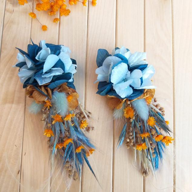 Çiçek küpe mavi turunculu