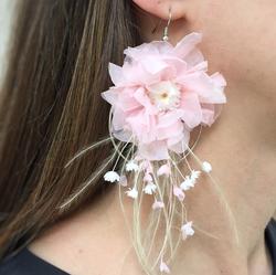 Çiçek küpe yuvarlak pembe