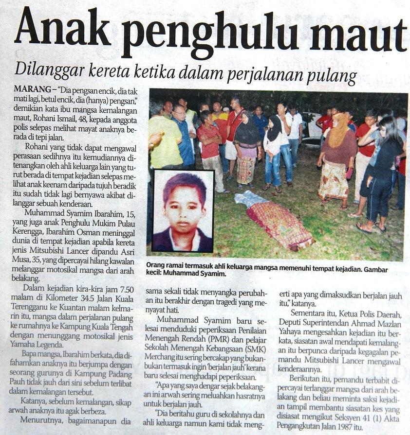 Keratan Akhbar Kemalangan I Rse