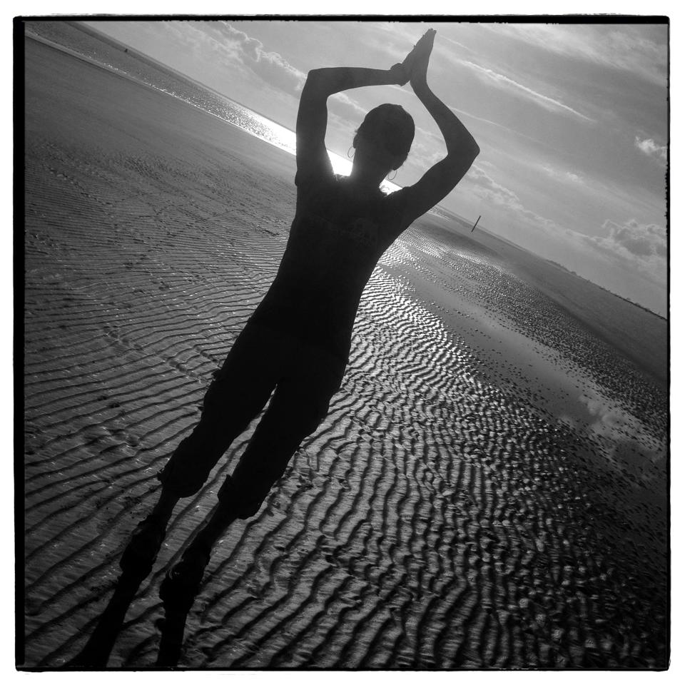 tadasana on a beach