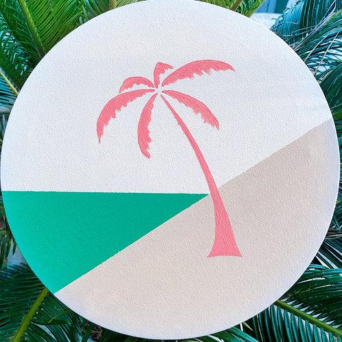 """Pink Palm Round - 8"""""""