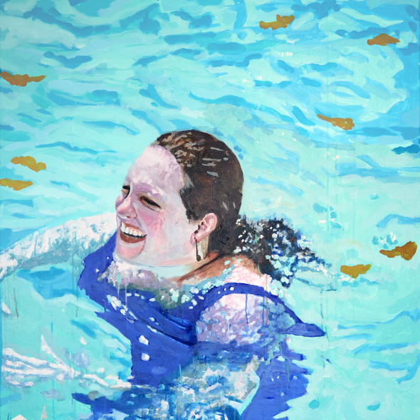 "Pool Painting No. 5, acrylic on canvas, 46"" x 37"", 2020"