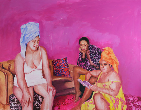 """Girls in Pink No. 5, acrylic on canvas 56"""" x 72"""", 2020"""