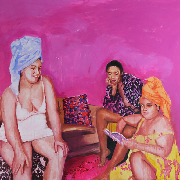 """Girls in Pink No. 6, acrylic on canvas, 56"""" x 72"""", 2020"""