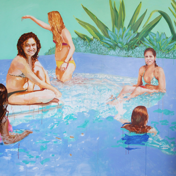 "Pool Painting No. 3, acrylic on canvas, 70"" x 80"", 2020"
