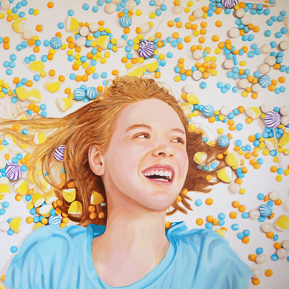 "Lilith with M&M's No.2, Acrylic on canvas, 54"" x 72"", 2013"