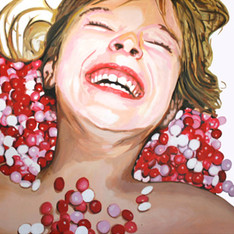 "Lilith with M&Ms, The Fantasies, Acrylic on canvas, 48""x 60"", 2009"