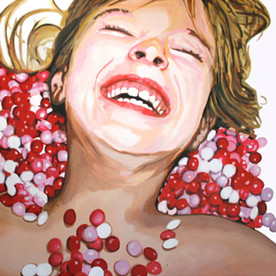 """Lilith with M&Ms, The Fantasies, Acrylic on canvas, 48""""x 60"""", 2009"""