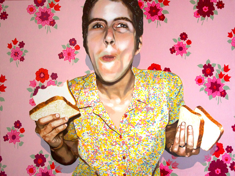 """Self Portrait with Bread No. 2, Home is Where the Heart is, Acrylic on canvas, 36"""" x 48"""", 2011"""