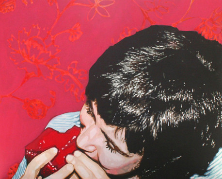 """Self Portrait with Red Velvet Cake, Acrylic on canvas, 48"""" x 60"""", 2010"""