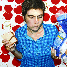 """Self Portrait with Bread No. 4, Home is Where the Heart is, Acrylic on canvas,  45"""" x 60"""", 2011"""