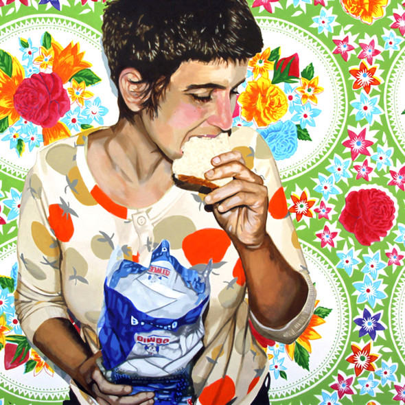 """Self Portrait with Bread No. 3, Home is Where the Heart is, Acrylic on canvas,  45"""" x 60"""", 2011"""