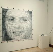 Barcode Portrait of Maria Raquel Cochez created in collaboration with Scott Blake