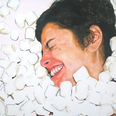 "Natalie, The Fantasies, Acrylic on canvas, 48"" x 60"", 2010"