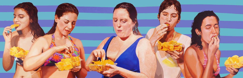 "Women with Nachos, acrylic on canvas, 45"" x 140"", 2014"