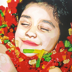 "Nadia, The Fantasies, acrylic on canvas, 48"" x 60"", 2010"