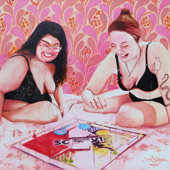 """Girls in Pink No. 2, acrylic on canvas, 56"""" x 72"""", 2020"""