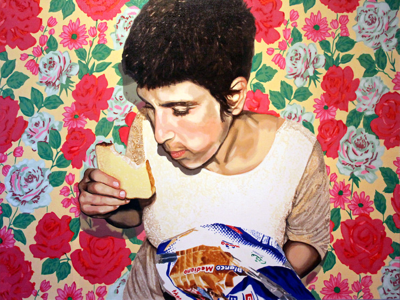 """Self Portrait with Bread No. 1, Home is Where the Heart is, Acrylic on canvas,  36"""" x 48"""", 2011"""