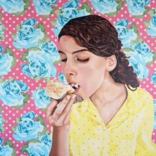 "Maya with Cupcake, Acrylic on canvas, 45"" x 60"", 2013"
