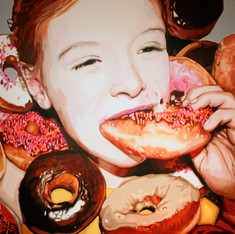 "Lilith with Doughnuts, The Fantasies, Acrylic on canvas, 60"" x 80"", 2010"