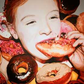 """Lilith with Doughnuts, The Fantasies, Acrylic on canvas, 60"""" x 80"""", 2010"""