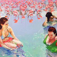 """Pool Painting No. 4, acrylic on canvas, 56"""" x 72"""", 2020"""