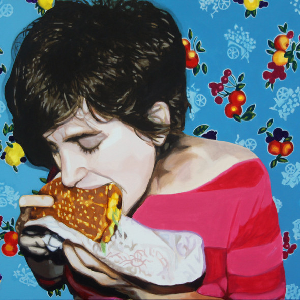 "Self portrait with Burger, acrylic on canvas, 36"" x 48"", 2011"