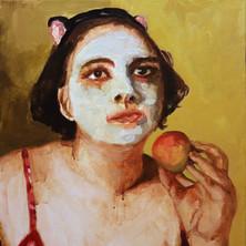 Maya with Apple, acrylic on canvas, 16″ x 20″, 2019