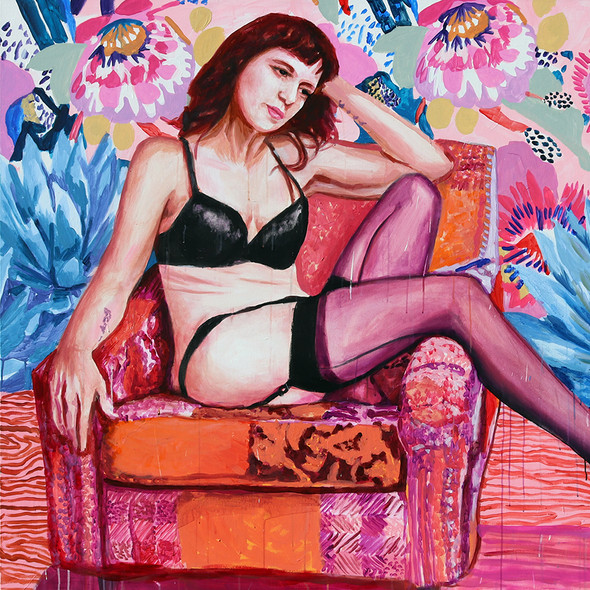 """Girls in Pink No. 4, acrylic on canvas, 56"""" x 72"""", 2020"""