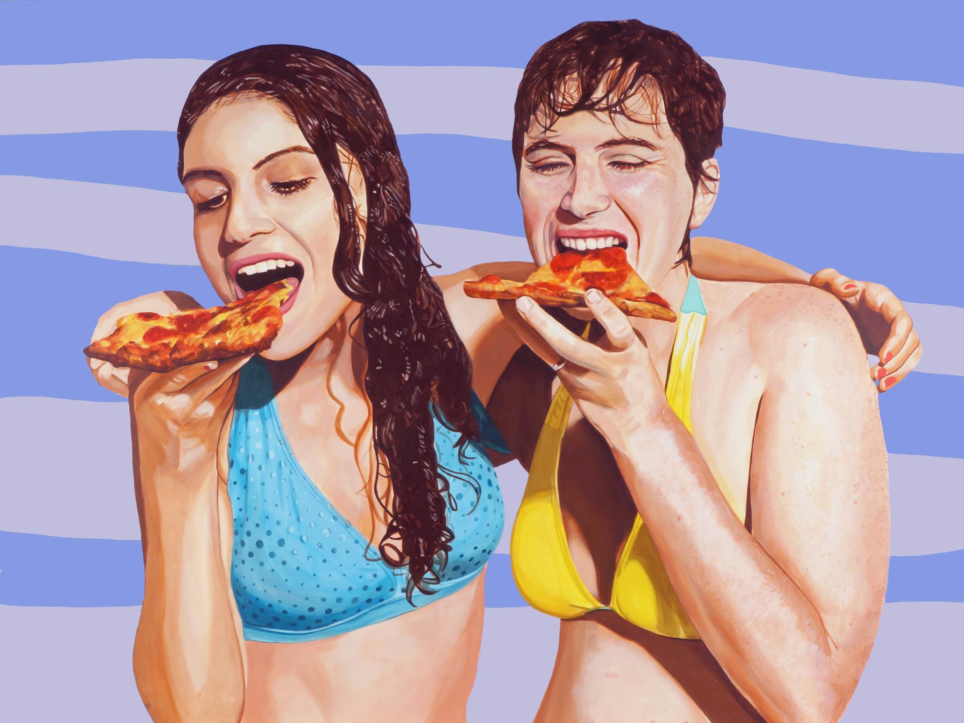 """María Raquel and Maya with Pizza No. 1, acrylic on canvas, 45"""" x 60"""", 2014"""