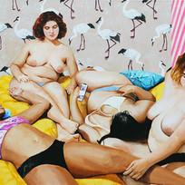 "Girls No. 3, acrylic on canvas,  50"" x 54"", 2019"