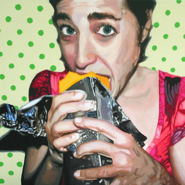 "Natalie with Velveeta, acrylic on canvas, 60"" x 80"", 2010"