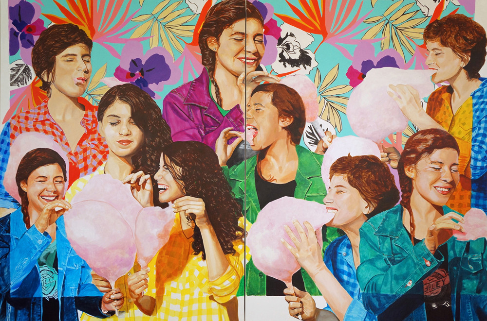 """Cotton Candy Collage, acrylic on canvas, (dyptich), each panel 60"""" x 90"""", 2015"""