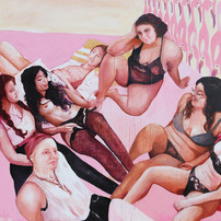 """Girls in Pink No. 3, acrylic on canvas, 70"""" x 80"""", 2020"""