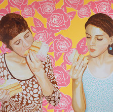 """Maria Raquel and Maya with Birthday Cake (Mother and Daughter series), Acrylic on canvas, 60"""" x 72"""", 2013"""